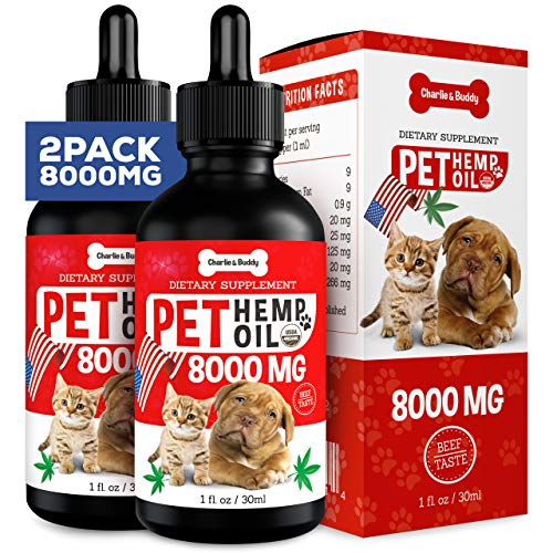 , 2 Pack 8000mg Hemp Oil for Dogs Cats