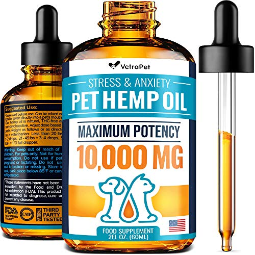 , Hemp Oil for Dogs and Cats Maximum Potency 10000mg