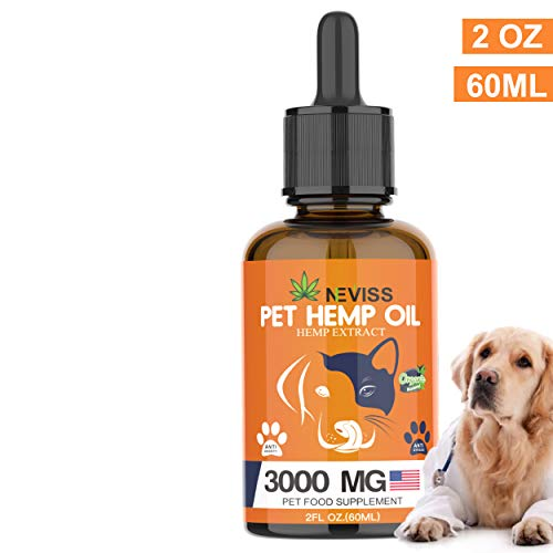 , Nevissbags Hemp Oil for Dogs Cats 3000mg Pain Anxiety